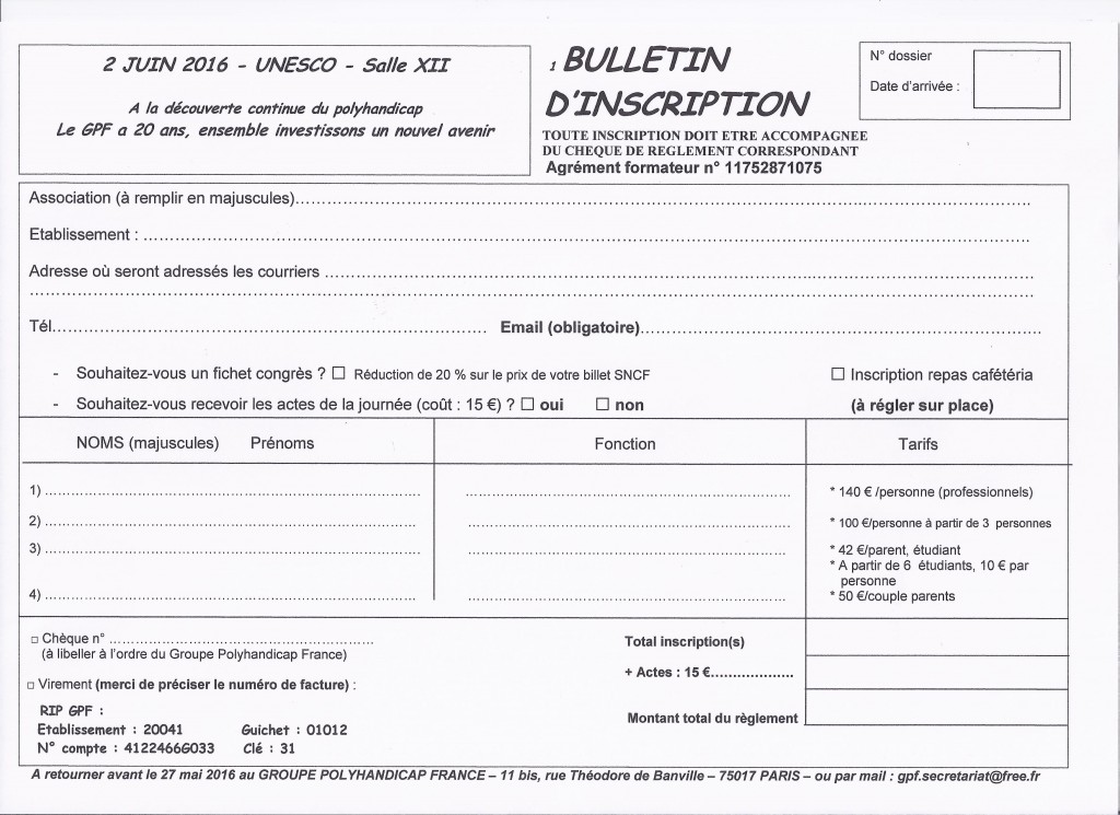 BULLETIN INSCRIPTION WEB